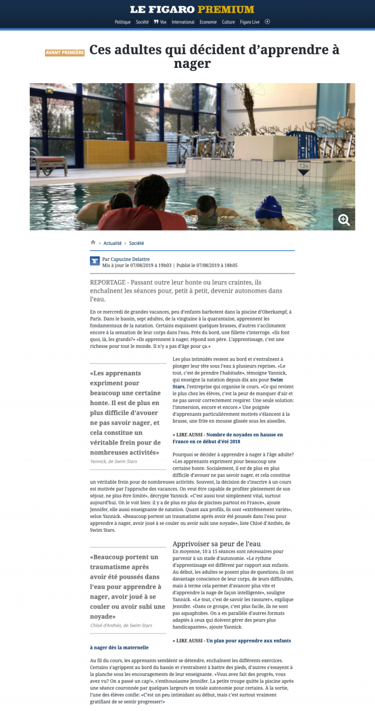 article figaro cours swimstars
